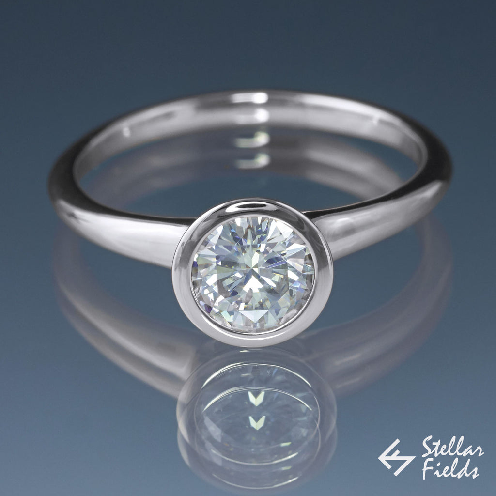 1.5ct 7.5mm Forever One ™ Moissanite Full Bezel Set Engagement Ring - Stellar Fields