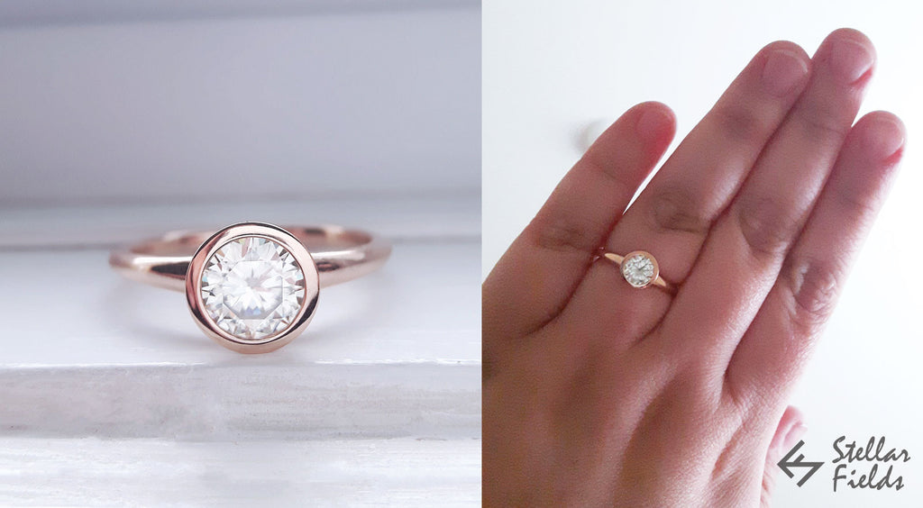 moissanite bezel engagement ring 14k rose gold Stellar Fields