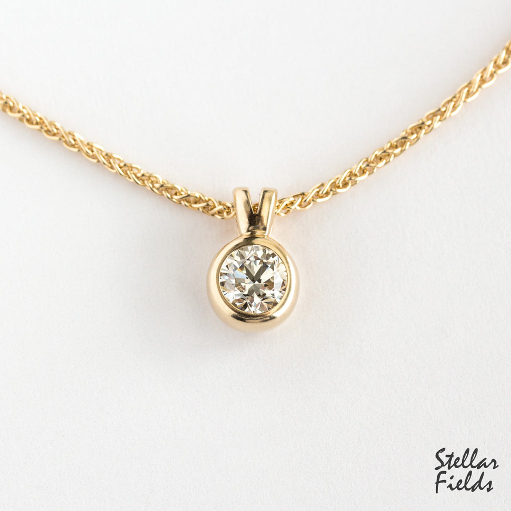 moissanite bezel pendant 14k gold chain Stellar Fields Jewelry