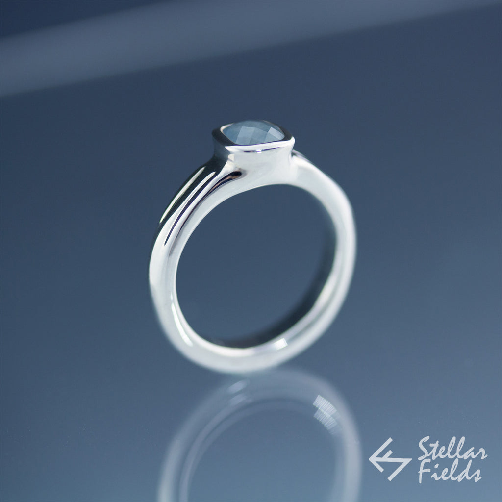 Bezel Set Cushion Cut Blue Sapphire Engagement Ring - Stellar Fields