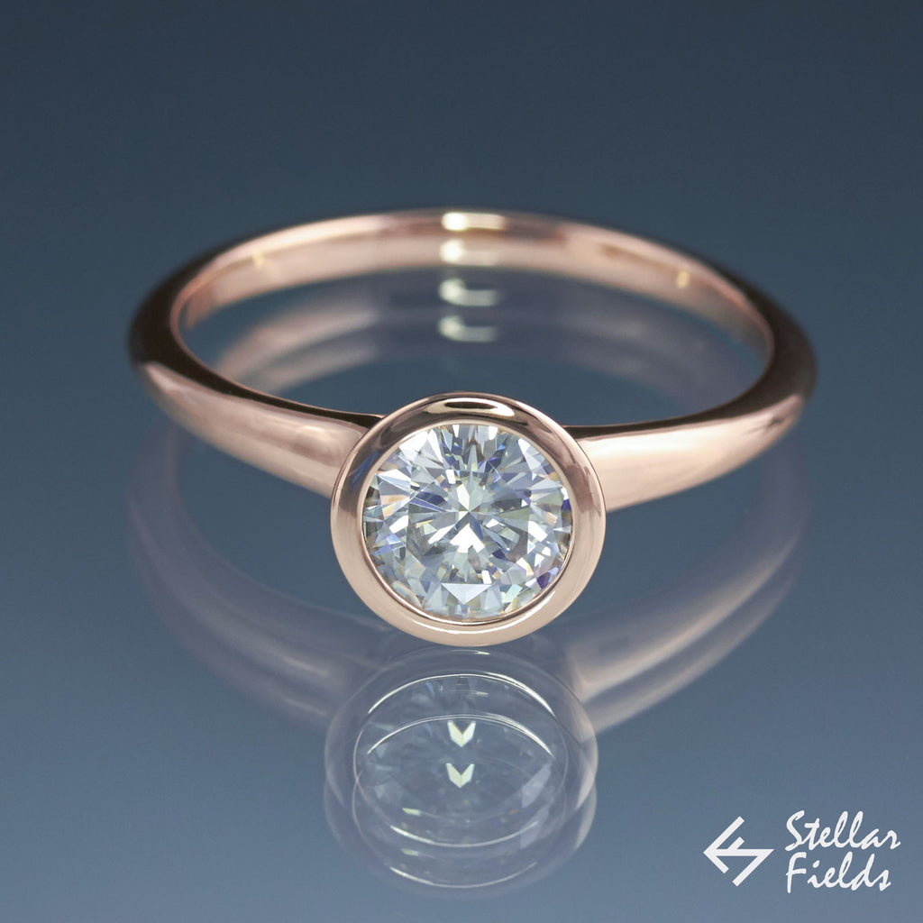 6.5mm Solitaire Round Diamond, full bezel set peekaboo engagement ring in 14k rose gold