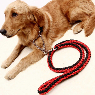 paw prime Black/Red Woven Nylon Rope Leash + Matching Collar
