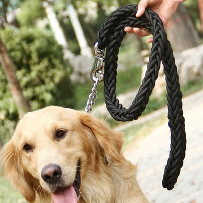 paw prime Black Woven Nylon Rope Leash + Matching Collar
