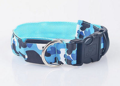 paw prime Blue / S LED Camouflage Dog Collar