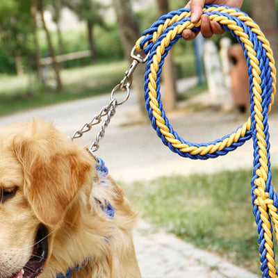 paw prime Blue/Yellow Woven Nylon Rope Leash + Matching Collar