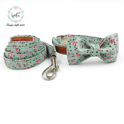 Paw Prime collar bow and leash / XS The Pretty Rose Collection