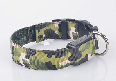 paw prime green / S LED Camouflage Dog Collar