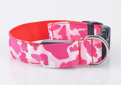 paw prime red / S LED Camouflage Dog Collar