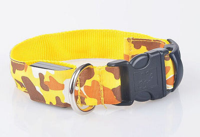 paw prime yellow / S LED Camouflage Dog Collar