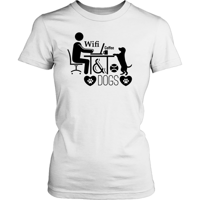 teelaunch T-shirt District Womens Shirt / White / XS Coffee Wifi and Dogs