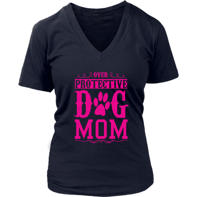 teelaunch T-shirt District Womens V-Neck / Navy / S Over Protective Dog Mom