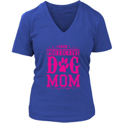 teelaunch T-shirt District Womens V-Neck / Royal Blue / S Over Protective Dog Mom
