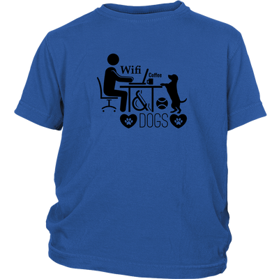 teelaunch T-shirt District Youth Shirt / Royal Blue / XS Coffee Wifi and Dogs