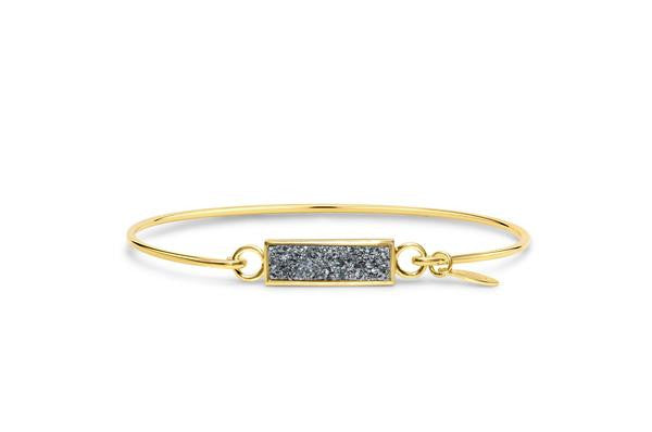 Druzy Bar Bracelet in Gold and Platinum-Stia Couture-The Bugs Ear