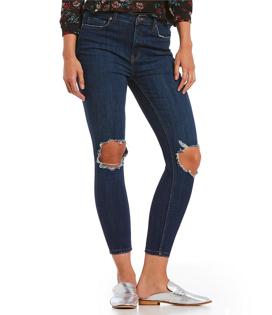 Free People We The Free Busted Skinny Jeans Dark Blue-Free People-The Bugs Ear