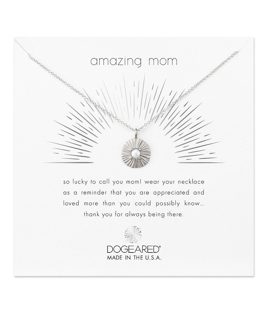 Dogeared Amazing Mom Radiant Pearl Disc Necklace in Silver-Dogeared-The Bugs Ear