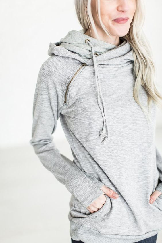 Ampersand Ave Grey Double Hooded Sweatshirt-Ampersand Ave-The Bugs Ear