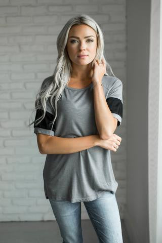 Ampersand Ave Grey and Black SS Blouse-Ampersand Ave-The Bugs Ear
