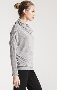 Millie Marled Cowl Neck Sweater Heather Grey-Z Supply-The Bugs Ear