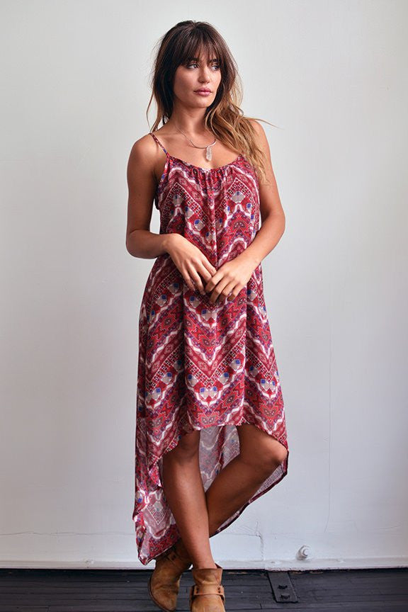 Reva Red Handkerchief High Low Dress-Lace and Whiskey-The Bugs Ear