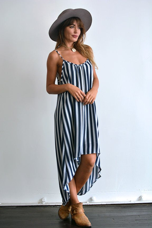 Stacey Spaghetti Strap Navy Strip Maxi Dress-Lace and Whiskey-The Bugs Ear