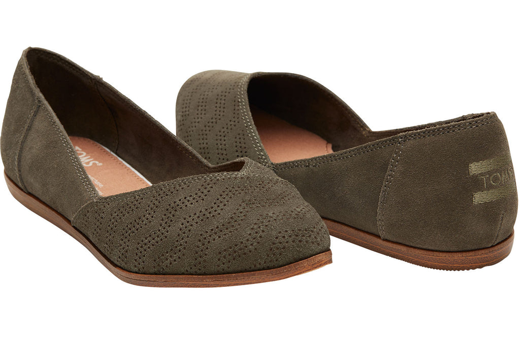 Toms Jutti- Tarmac Olive Suede Chevron Embossed-Toms-The Bugs Ear