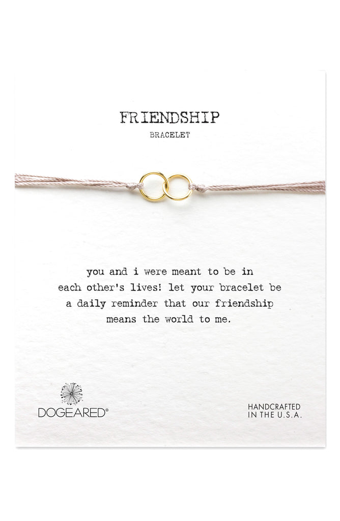 Dogeared Friendship Double Linked Rings Bracelet Gold Dipped Taupe-Dogeared-The Bugs Ear