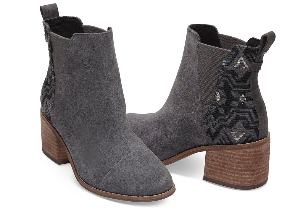 945ea5b7a2c Toms Esme Forged Iron Grey Metallic Jacquard Boots-Toms-The Bugs Ear