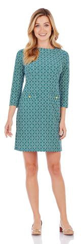 Jude Connally Sabine Dress in Mini Trellis Peacock-Jude Connally-The Bugs Ear