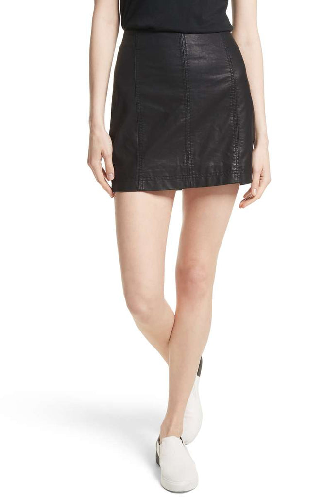 Free People Modern Femme Vegan Leather Mini Skirt-Free People-The Bugs Ear