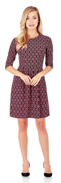 Jude Connally Brynn Fit & Flare Dress in Trellis Trio Crimson-Jude Connally-The Bugs Ear
