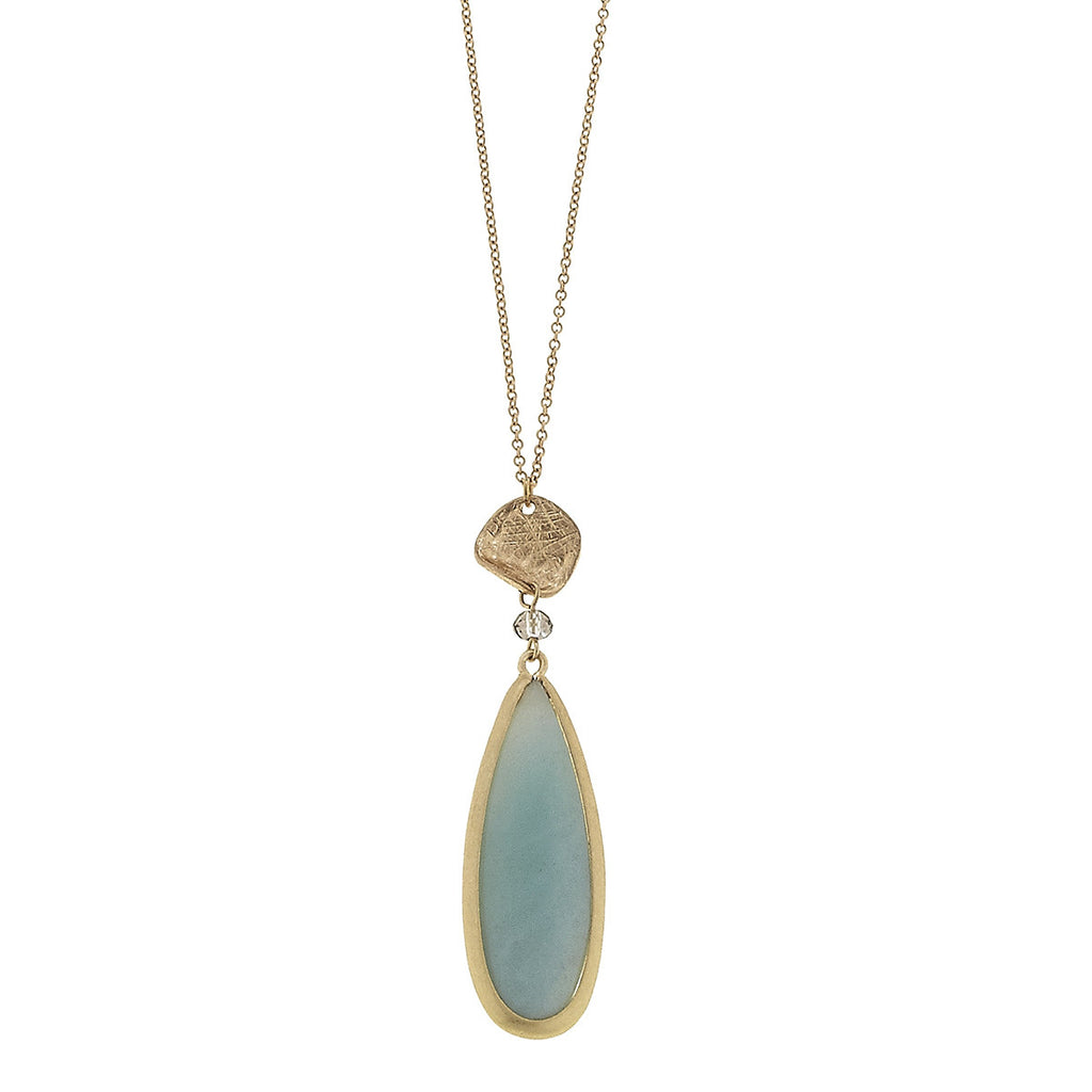 CV Teardrop Gemstone Necklace in Amazonite-Canvas Jewelry-The Bugs Ear