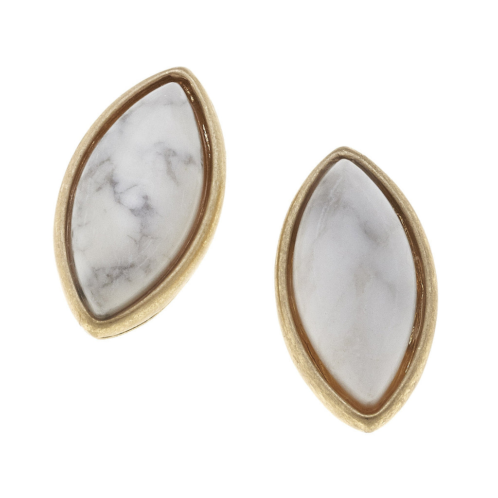 CV Marquis Gemstone Stud Earrings White Howlite-Canvas Jewelry-The Bugs Ear