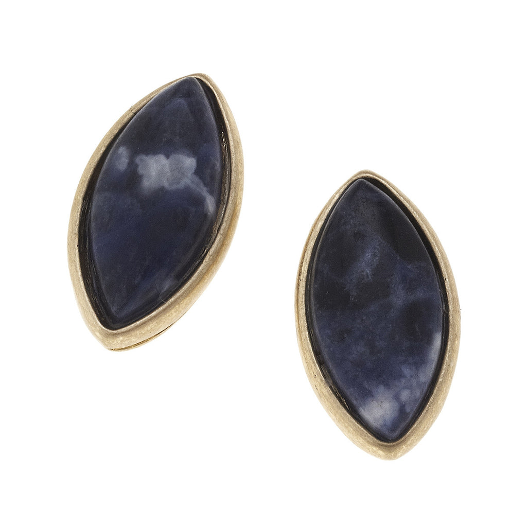 CV Marquis Gemstone Stud Earrings Sodalite-Canvas Jewelry-The Bugs Ear