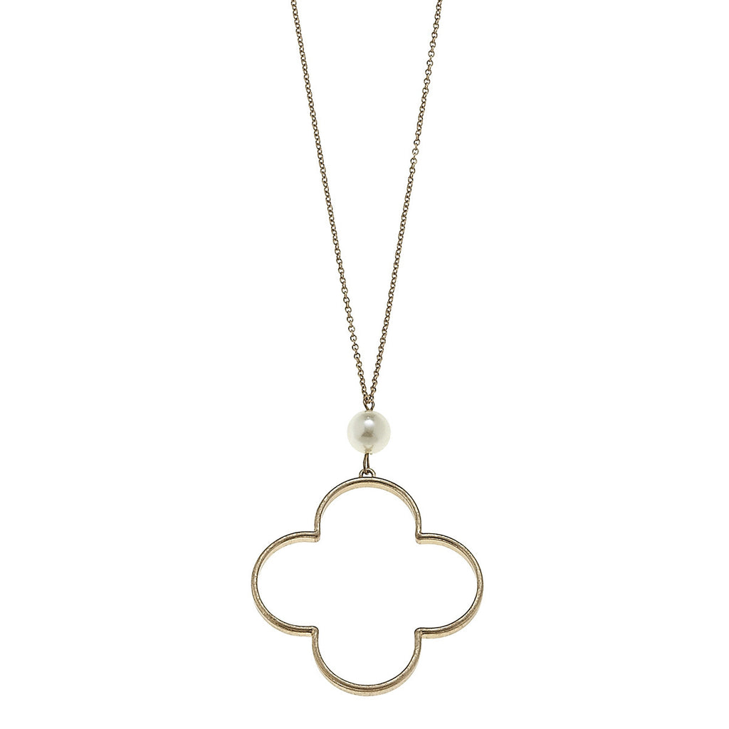 CV Open Quatrefoil Pearl Drop Chain Necklace-Canvas Jewelry-The Bugs Ear