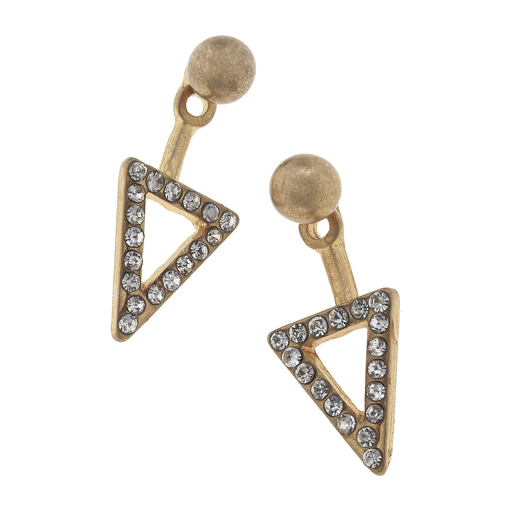 CV Open Pave Triangle Front Back Earring-Canvas Jewelry-The Bugs Ear