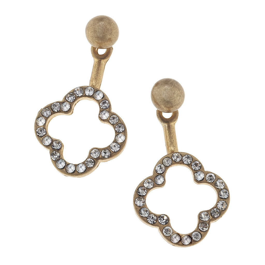 CV Open Pave Quatrefoil Front Back Earring-Canvas Jewelry-The Bugs Ear