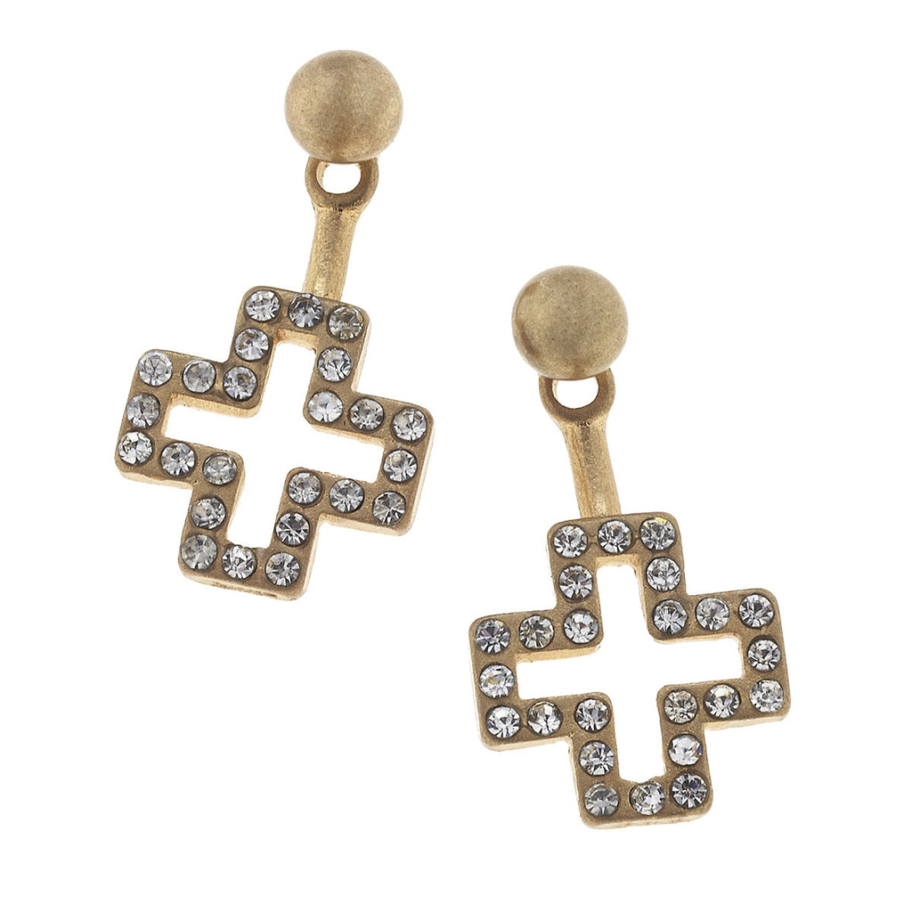 CV Open Pave Cross Front Back Earring-Canvas Jewelry-The Bugs Ear