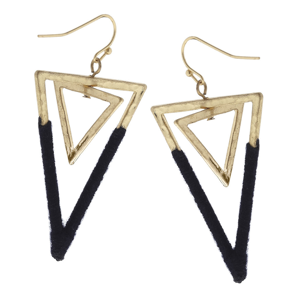 CV Navy Fabric Wrap Double Triangle Earring-Canvas Jewelry-The Bugs Ear