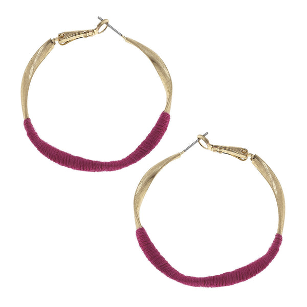 CV Pink Fabric Wrap Hoop Earring-Canvas Jewelry-The Bugs Ear
