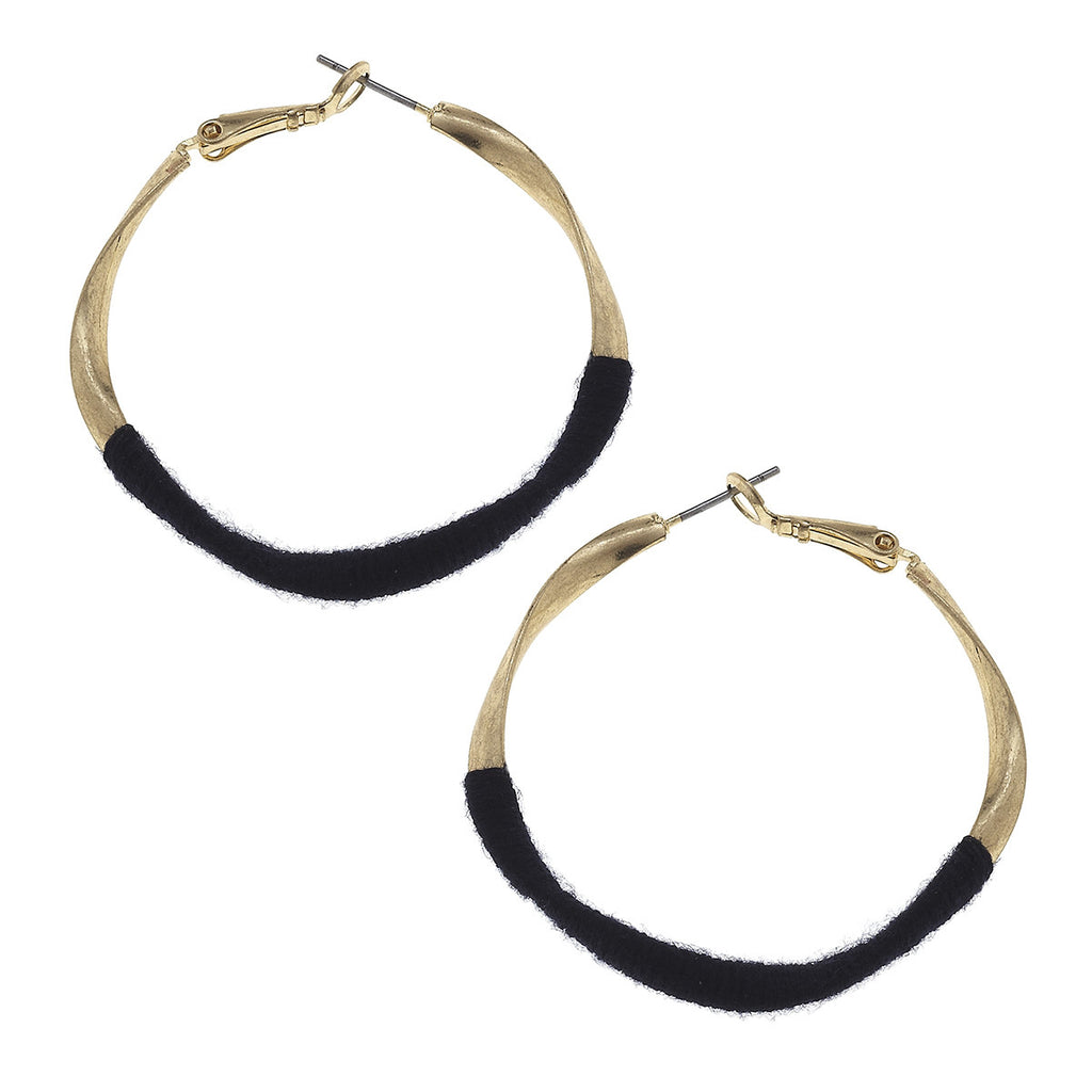 CV Navy Fabric Wrap Hoop Earring-Canvas Jewelry-The Bugs Ear