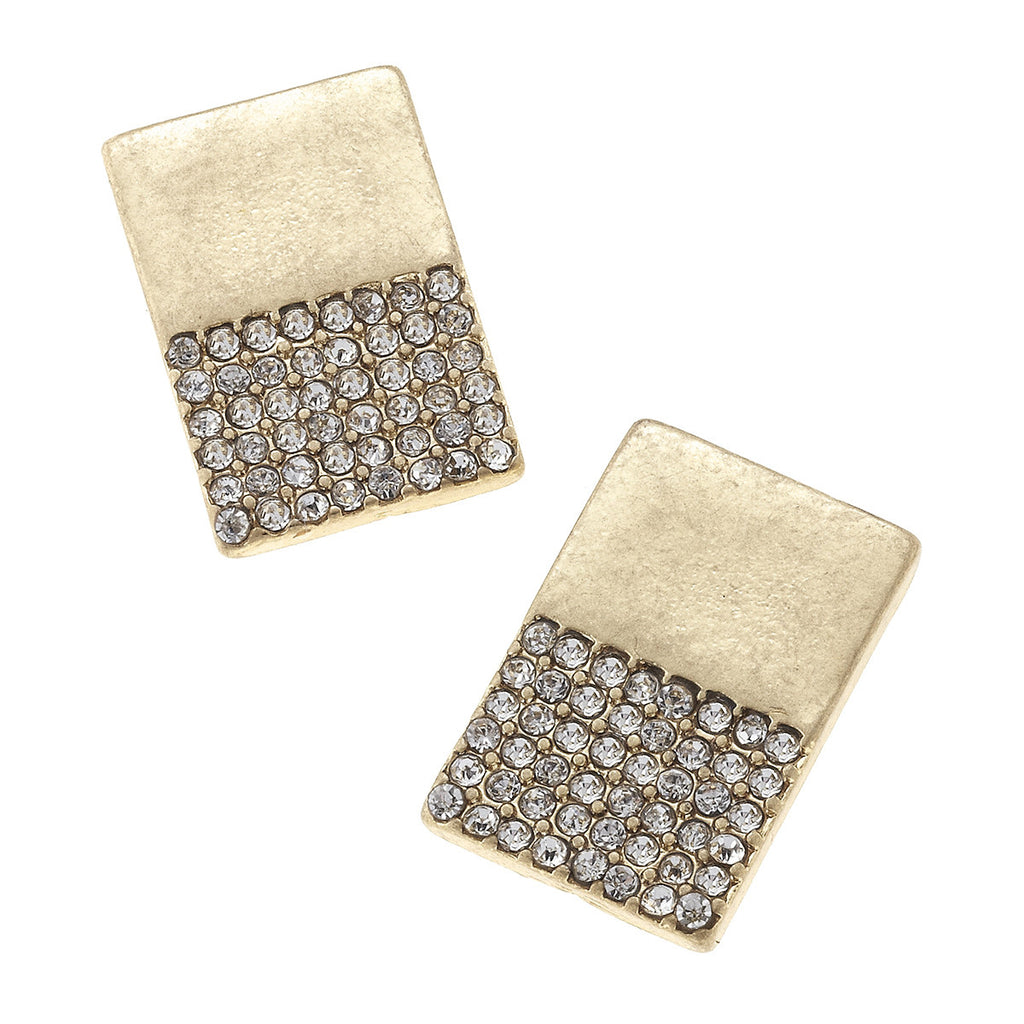 CV Pave Rectangle Stud Earring-Canvas Jewelry-The Bugs Ear