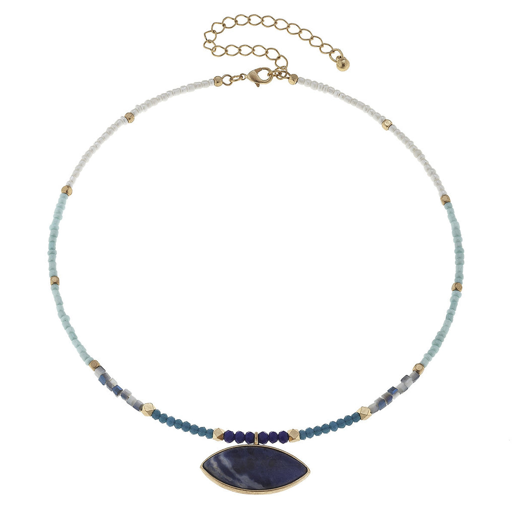 CV Sodalite Gemstone Memory Choker-Canvas Jewelry-The Bugs Ear
