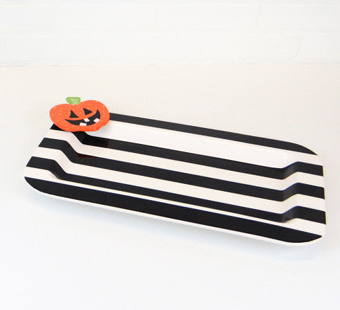 Happy Everything Entertaining Platter Black Stripe with Now Serving-Coton Colors-The Bugs Ear