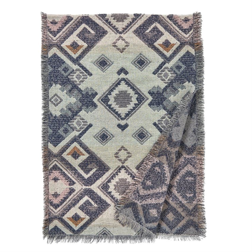 Vermejo Woven Print Blanket Wrap in Gray Blue-Coco and Carmen-The Bugs Ear