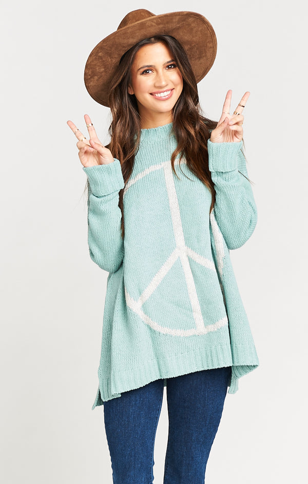 Show Me Your Mumu Fireside Sweater Peaceful Seafoam Knit-Show Me Your Mumu-The Bugs Ear