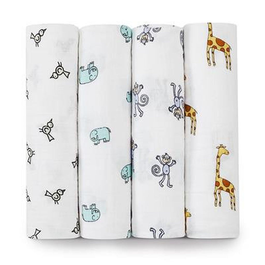 Aden and Anais Swaddle 4 pack Set Jungle Jam-Aden + Anias-The Bugs Ear