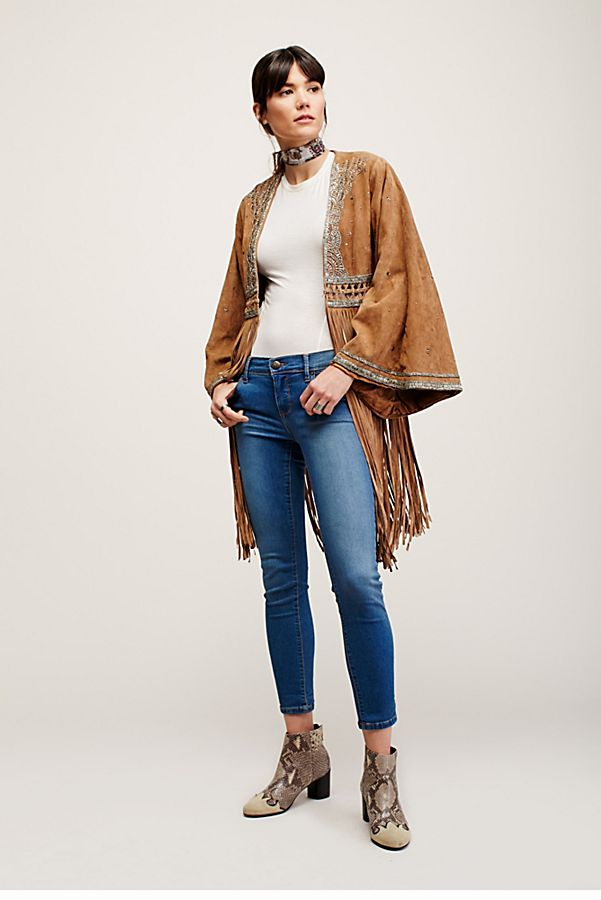 Free People Rolled Crop Skinny Jeans in Lou Blue-Free People-The Bugs Ear