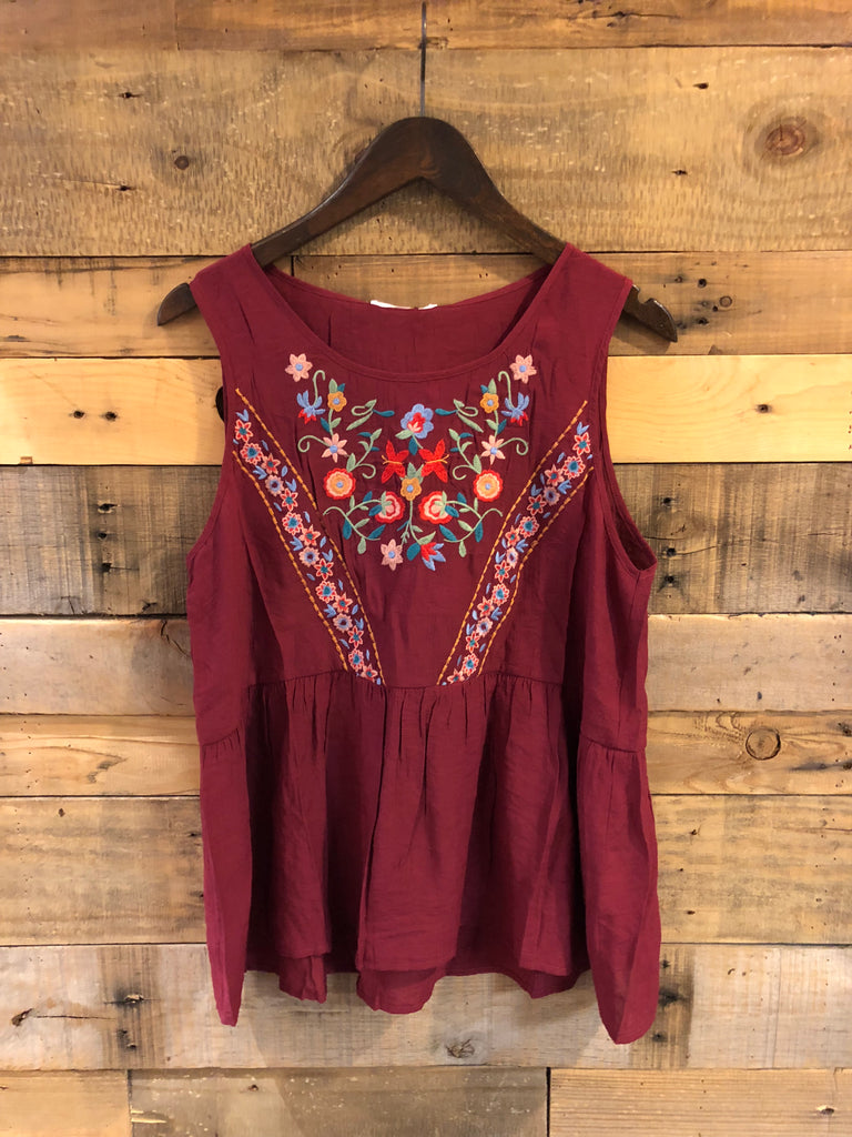 Flora Sleeveless Burgundy Top-THML-The Bugs Ear