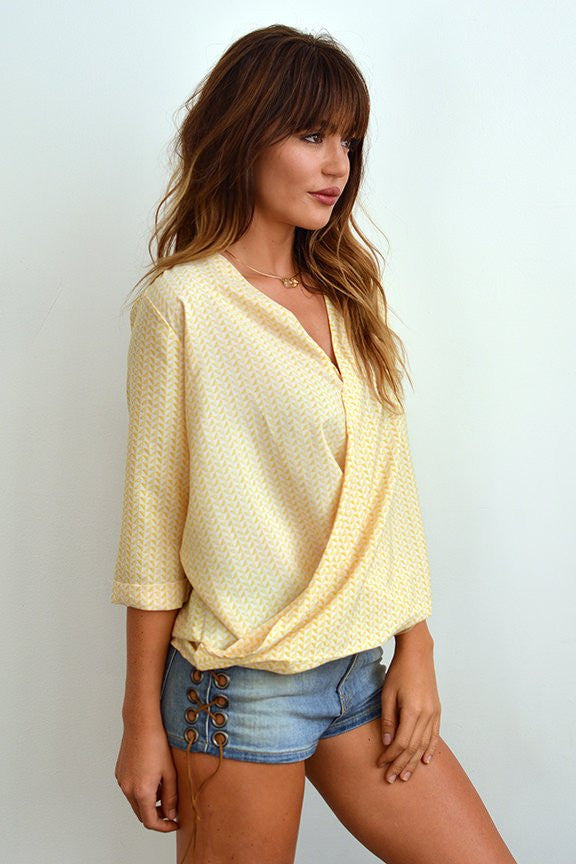 Cameron Cross Front Print Top In Bright Yellow-Lace and Whiskey-The Bugs Ear